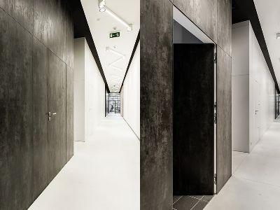Drzwi ukryte reversyjne z okładziną z kamienia
